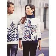 Женский свитер с совами 130-138