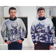 Мужской свитер с зимним пейзажем 230-392