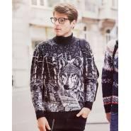 Мужской свитер с волком 230-407