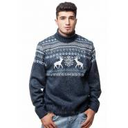 Мужской свитер с оленями 05151 голубой
