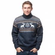Мужской вязаный свитер с оленями 05151 оранжевый