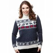 Женский вязаный свитер с оленями 08072