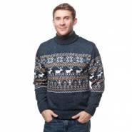 Мужской вязаный свитер с оленями 05155 оранжевый