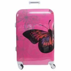 Пластиковый чемодан Travel Car розовый