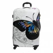 Пластиковый чемодан Travel Car белый
