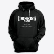 Толстовка с капюшоном с надписью Moscow State University DRINKING TEAM