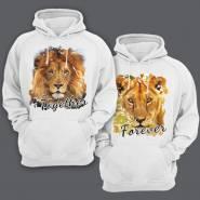 Парные толстовки с капюшоном для влюбленных со львом и львицей