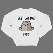 """Прикольный свитшот с принтом """"Best cat dad ever"""""""