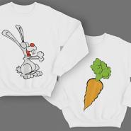 Парные свитшоты для молодоженов с изображениями Кролика и морковки