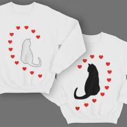"""Парные свитшоты для молодоженов """"Кошечки и сердечки"""""""