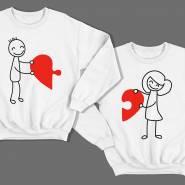 Парные свитшоты для влюбленных с изображениями мальчика и девочки, соединяющими сердце-пазл