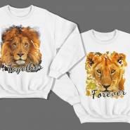 Парные свитшоты для влюбленных со львом и львицей