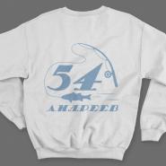 Именной свитшот с печатным шрифтом и атрибутами рыбалки #70