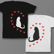 """Парные футболки для влюбленных """"Кошечки и сердечки"""""""