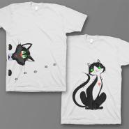 """Парные футболки для влюбленных """"Смешные котики"""""""