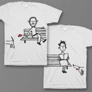 """Парные футболки для влюбленных """"Парочка на скамейке"""""""