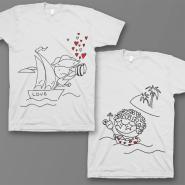Парные футболки для влюбленных с изображением пирата и туристки