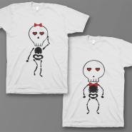 Парные футболки для влюбленных с изображением скелетиков