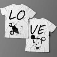 Парные футболки для влюбленных с изображениями влюбленных мышат и надписями