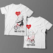 Парные футболки для влюбленных с изображениями мальчика и девочки на велосипеде и надписями