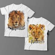 Парные футболки для влюбленных со львом и львицей