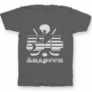 Именная футболка с полосатым шрифтом и хоккейными принадлежностями #66