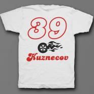Именная футболка с шрифтом из нулевых и пламенным колесом #47