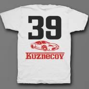 Именная футболка с шрифтом феррари и машиной #49