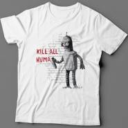 "Прикольная футболка с надписью ""Kill all huma.."""